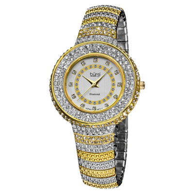 Burgi Womens Two Tone Strap Watch-B-048ttg