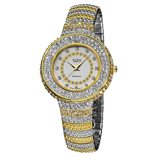 Burgi Womens Two Tone Strap Watch-B-048ttg