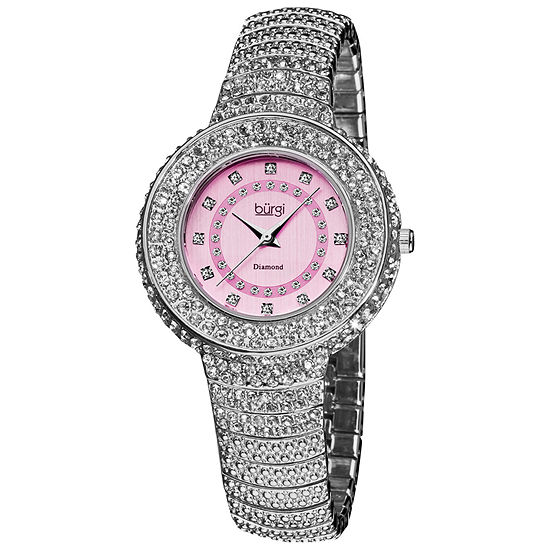 Burgi Womens Silver Tone Strap Watch-B-048sspk
