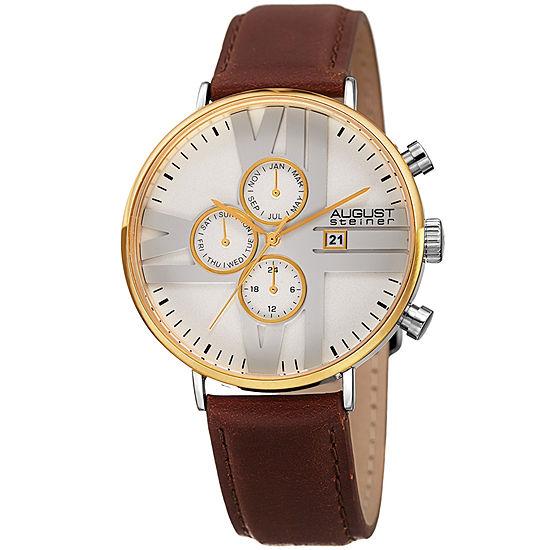 August Steiner Mens Brown Strap Watch-As-8212ygwt