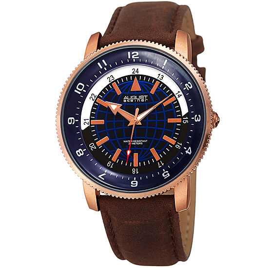 August Steiner Mens Brown Leather Strap Watch-As-8213rgbu