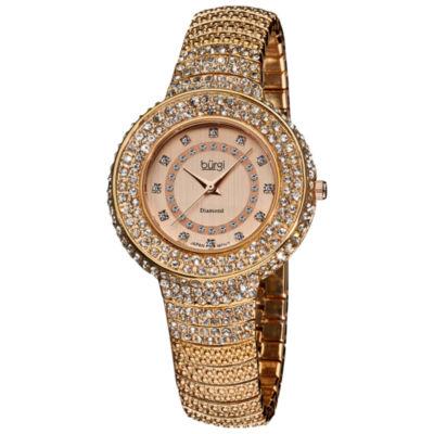 Burgi Womens Rose Goldtone Strap Watch-B-048rg
