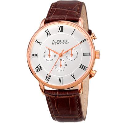 August Steiner Mens Brown Strap Watch-As-8214rg