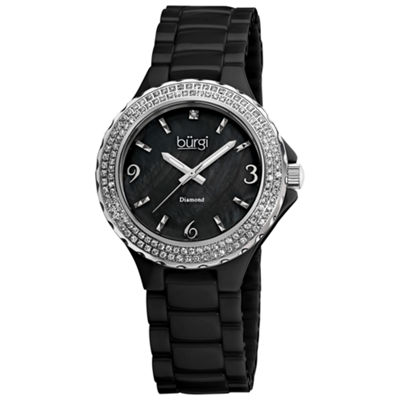 Burgi Womens Black Strap Watch-B-047bk