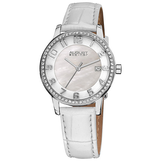 August Steiner Womens White Leather Strap Watch-As-8056wt