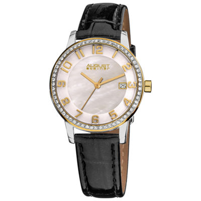 August Steiner Womens Black Strap Watch-As-8056yg