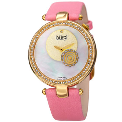 Burgi Womens Pink Strap Watch-B-042ygpk