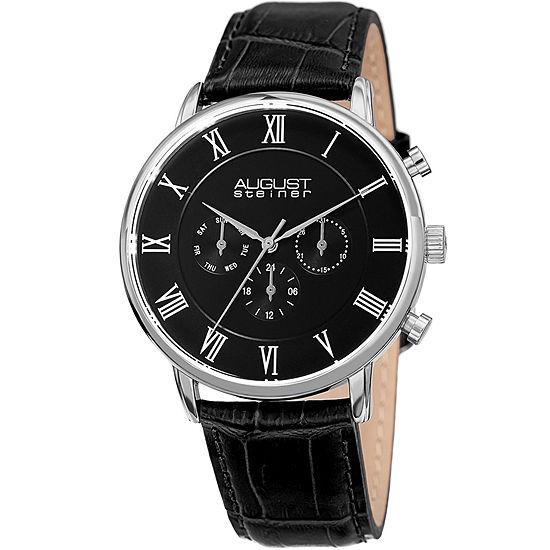 August Steiner Mens Black Strap Watch-As-8214ssb