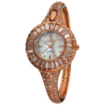 Burgi Womens Rose Goldtone Strap Watch-B-040rg