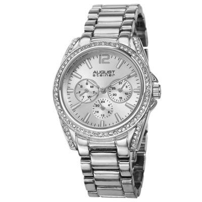 August Steiner Womens Silver Tone Strap Watch-As-8075ss