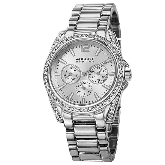 August Steiner Womens Silver Tone Strap Watch-As-8075ss