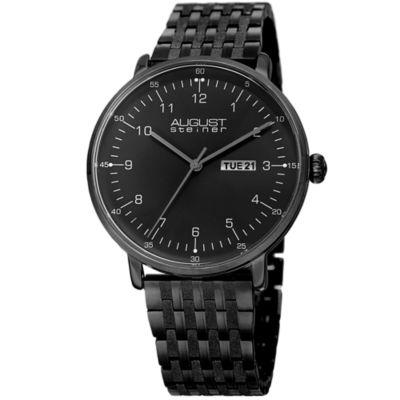 August Steiner Mens Black Strap Watch-As-8215bk