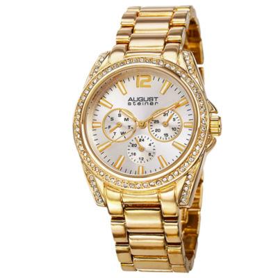 August Steiner Womens Gold Tone Strap Watch-As-8075yg