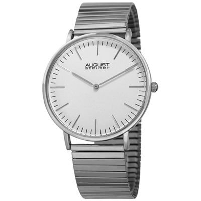 August Steiner Mens Silver Tone Strap Watch-As-8216ss