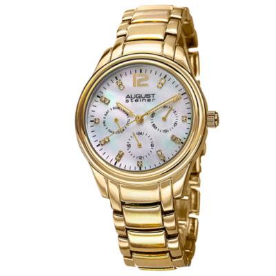 August Steiner Womens Gold Tone Strap Watch-As-8076yg