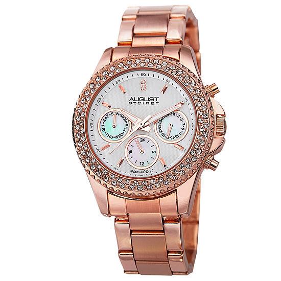 August Steiner Womens Rose Goldtone Bracelet Watch-As-8100rg