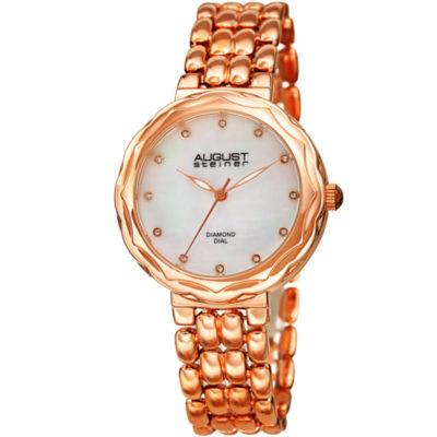August Steiner Womens Rose Goldtone Strap Watch-As-8248rg