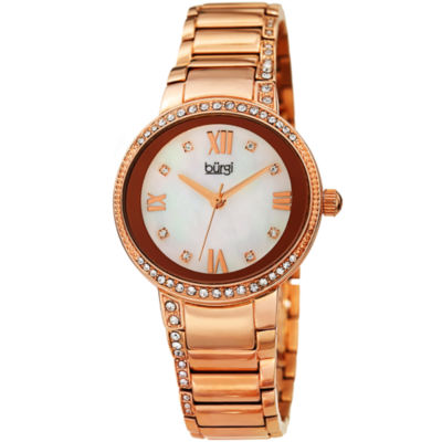 Burgi Womens Rose Goldtone Strap Watch-B-187rg