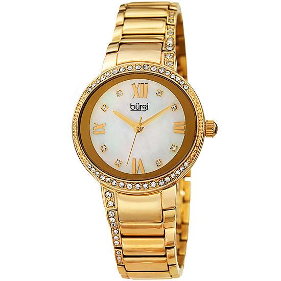 Burgi Set With Swarovski Crystals Womens Gold Tone Strap Watch-B-187yg