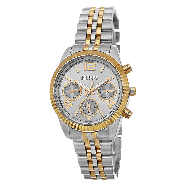 August Steiner Womens Two Tone Strap Watch-As-8103ttg