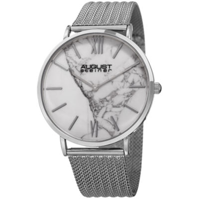 August Steiner Mens Silver Tone Strap Watch-As-8218ss