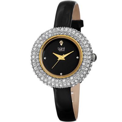 Burgi Womens Black Strap Watch-B-195bk