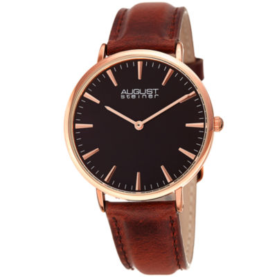 August Steiner Womens Brown Strap Watch-As-8247rgbr