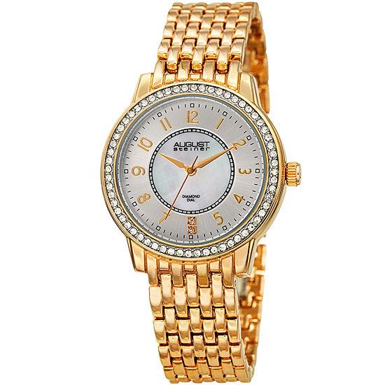 August Steiner Womens Gold Tone Strap Watch-As-8246yg