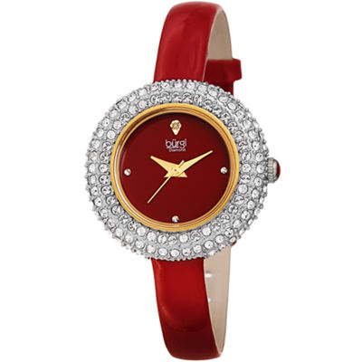 Burgi Womens Red Strap Watch-B-195rd