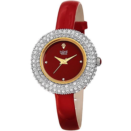 Burgi Set With Swarovski Crystals Womens Red Leather Strap Watch-B-195rd