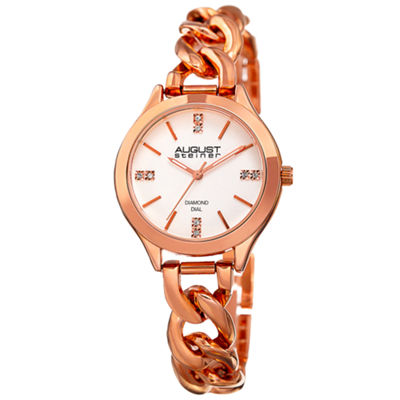 August Steiner Womens Rose Goldtone Strap Watch-As-8222rg