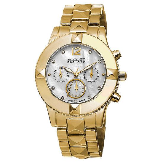 August Steiner Womens Gold Tone Strap Watch As 8107yg