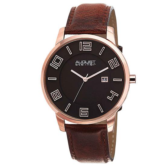 August Steiner Mens Brown Leather Strap Watch-As-8108rg