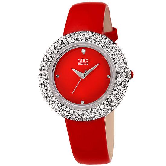 Burgi Set With Swarovski Crystals Womens Red Leather Strap Watch-B-199rd