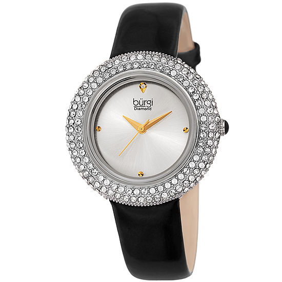 Burgi Womens Black Strap Watch-B-199ssbk
