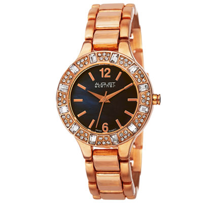 August Steiner Womens Rose Goldtone Strap Watch-As-8135rgbu
