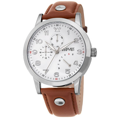 August Steiner Mens Brown Strap Watch-As-8244ss