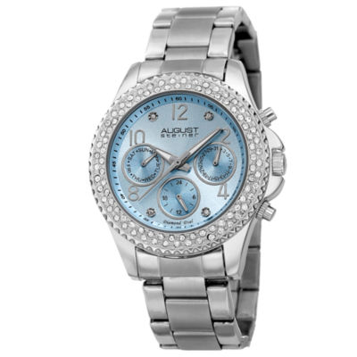 August Steiner Womens Silver Tone Strap Watch-As-8136sslb