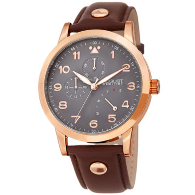 August Steiner Mens Brown Strap Watch-As-8244rg