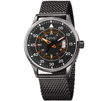 August Steiner Mens Gray Strap Watch-As-8223gn
