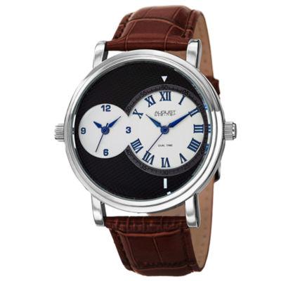 August Steiner Mens Brown Strap Watch-As-8146ssbr