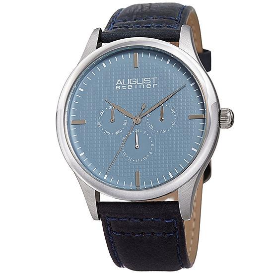 August Steiner Mens Blue Leather Strap Watch-As-8243ssbu