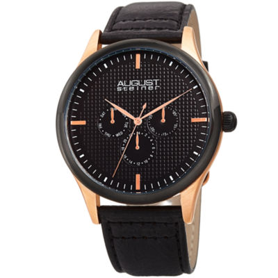 August Steiner Mens Black Strap Watch-As-8243rgbk