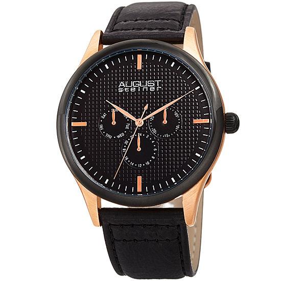 August Steiner Mens Black Leather Strap Watch-As-8243rgbk