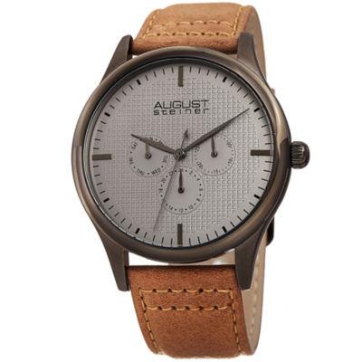 August Steiner Mens Brown Strap Watch-As-8243gnbr