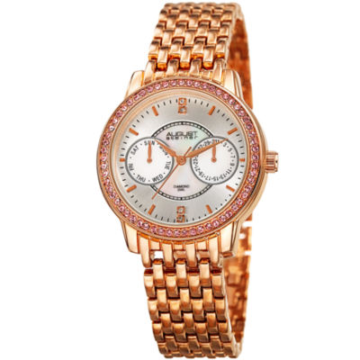 August Steiner Womens Rose Goldtone Strap Watch-As-8228rg