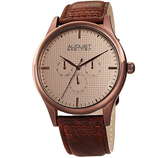 August Steiner Mens Brown Leather Strap Watch-As-8243br
