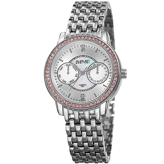 August Steiner Womens Silver Tone Strap Watch-As-8228ss