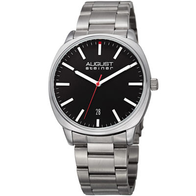 August Steiner Mens Silver Tone Strap Watch-As-8237ssb
