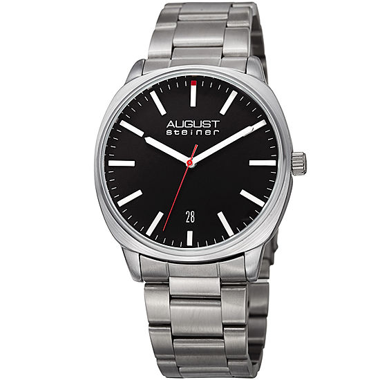 August Steiner Mens Silver Tone Stainless Steel Strap Watch-As-8237ssb